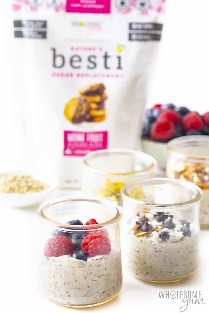 Keto friendly overnight oats with monk fruit sweetener in the background