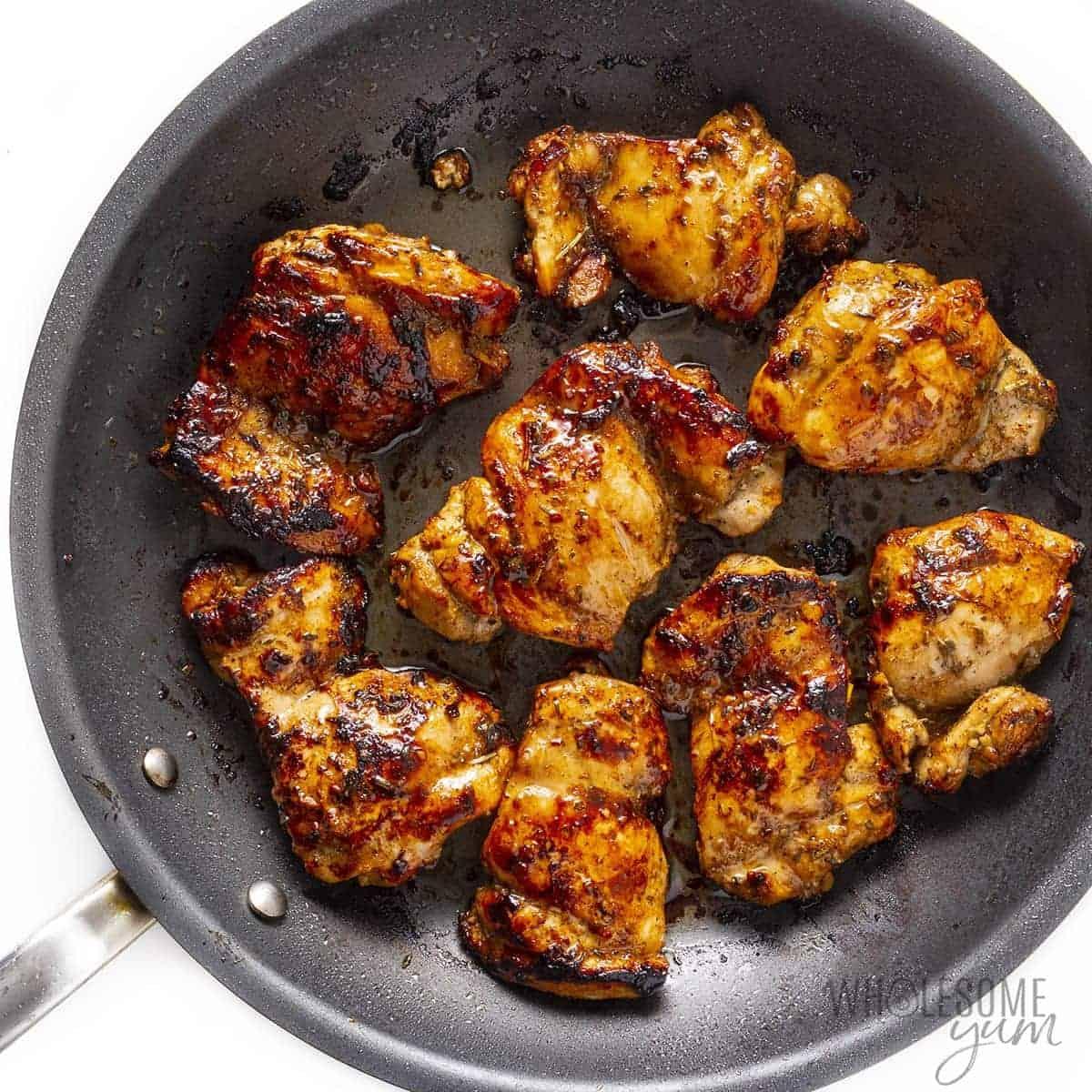 Mediterranean chicken seared in a pan