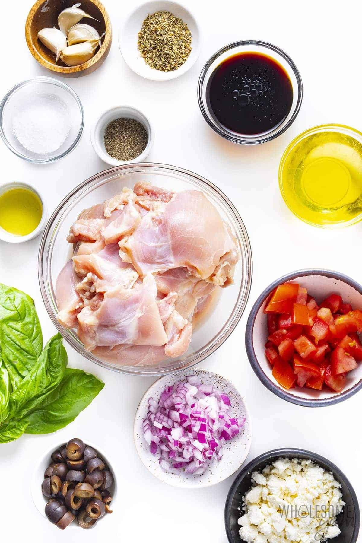 Mediterranean chicken ingredients on plates