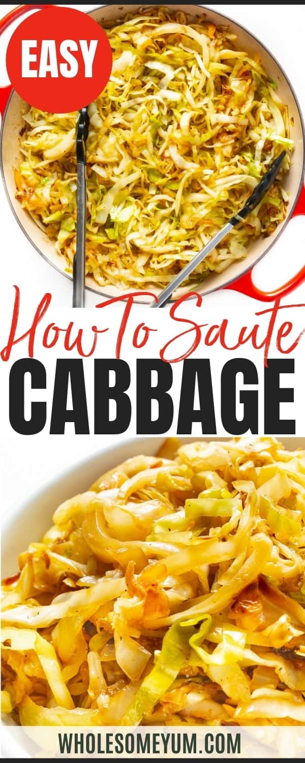 How to saute cabbage: recipe pin