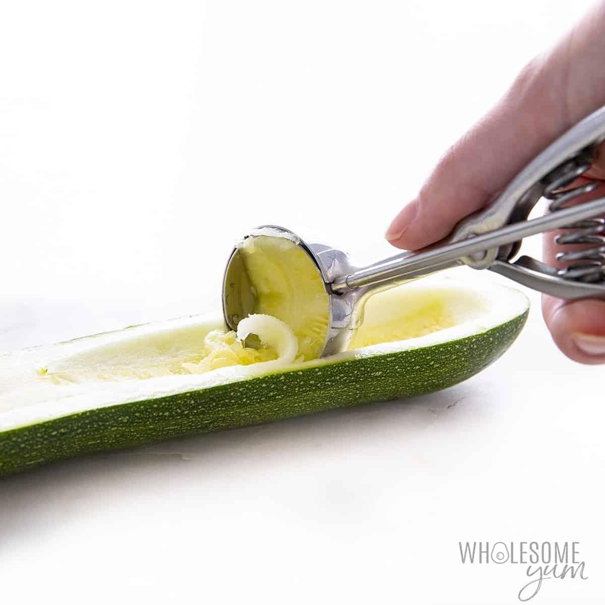 Prepping zucchini for zucchini boat