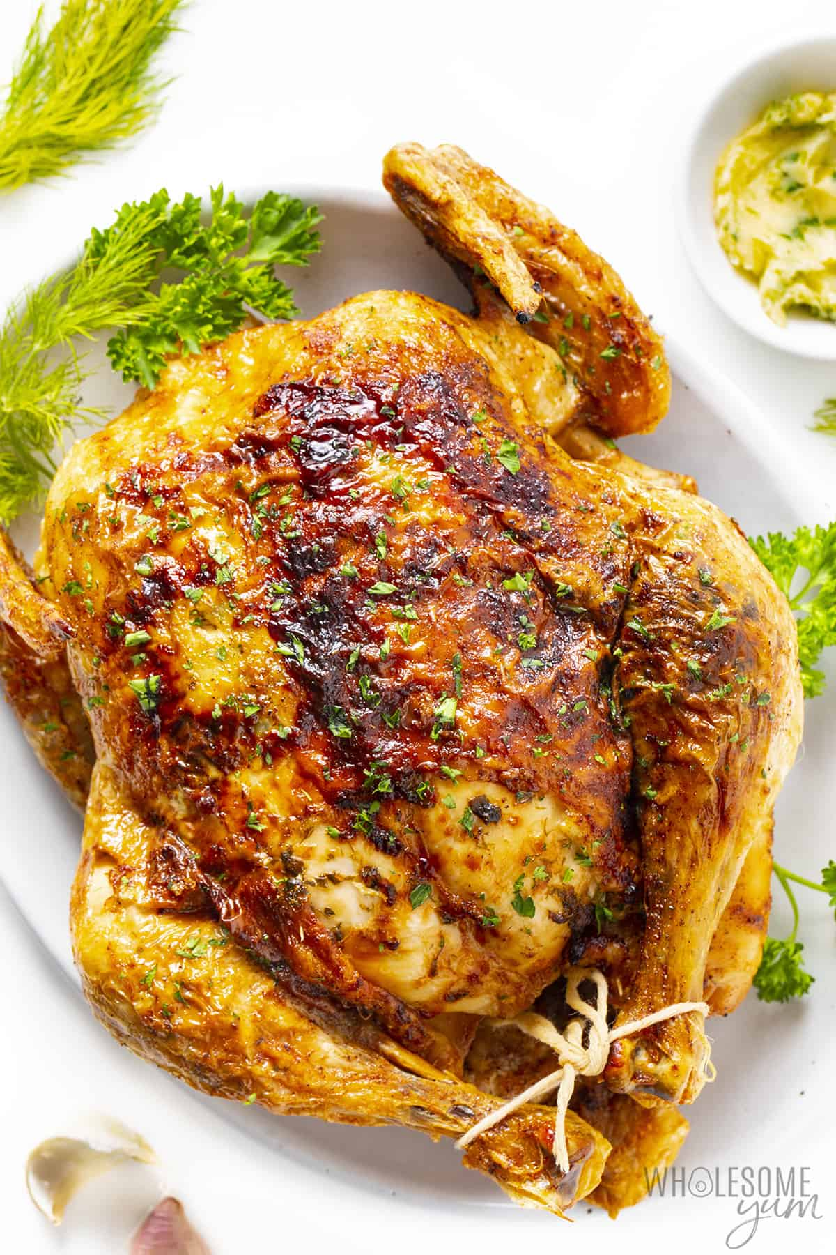 Cooked air fryer chicken on a platter