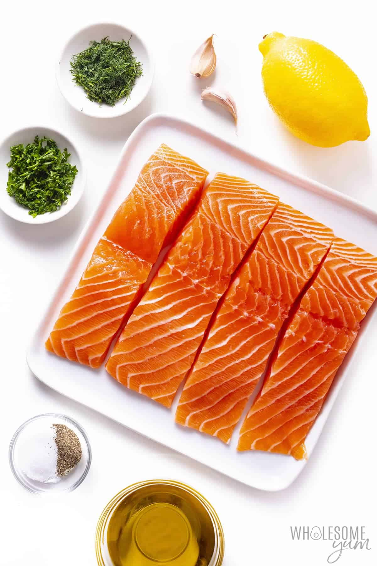 Ingredients to make best baked salmon recipe