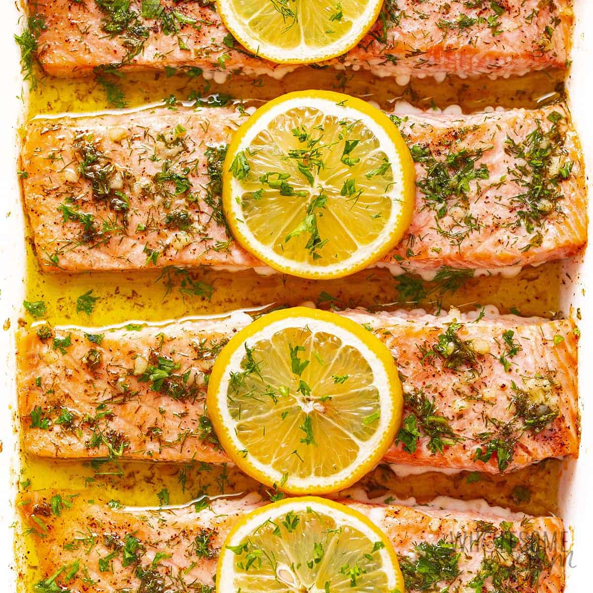 Oven baked salmon in a baking dish