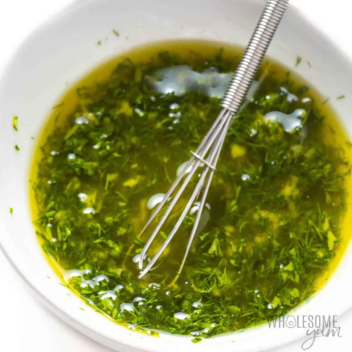 Olive oil herb mixture for best baked salmon