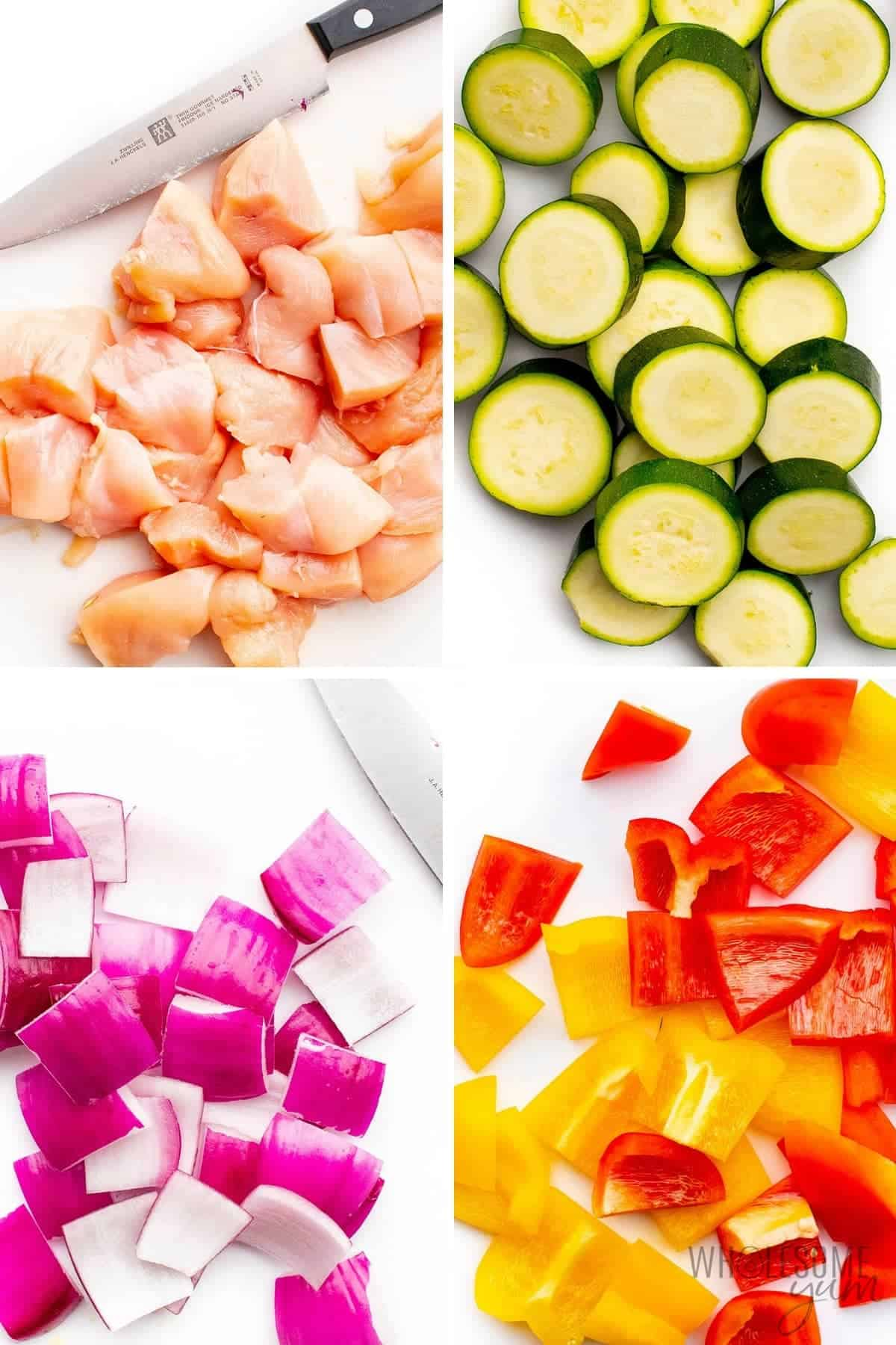 Chopped ingredients for chicken and vegetable kabobs