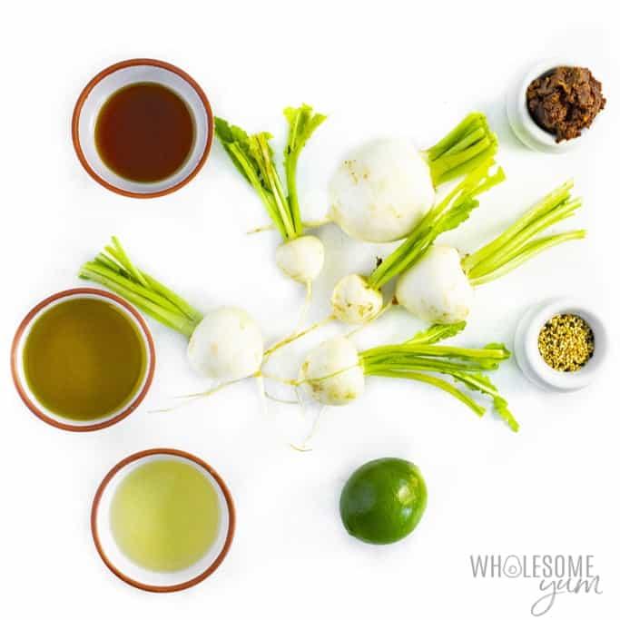 Ingredients to make Japanese turnip recipe