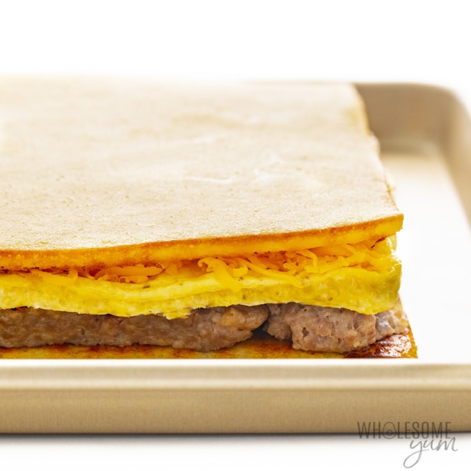 Keto breakfast meal prep sandwiches before baking