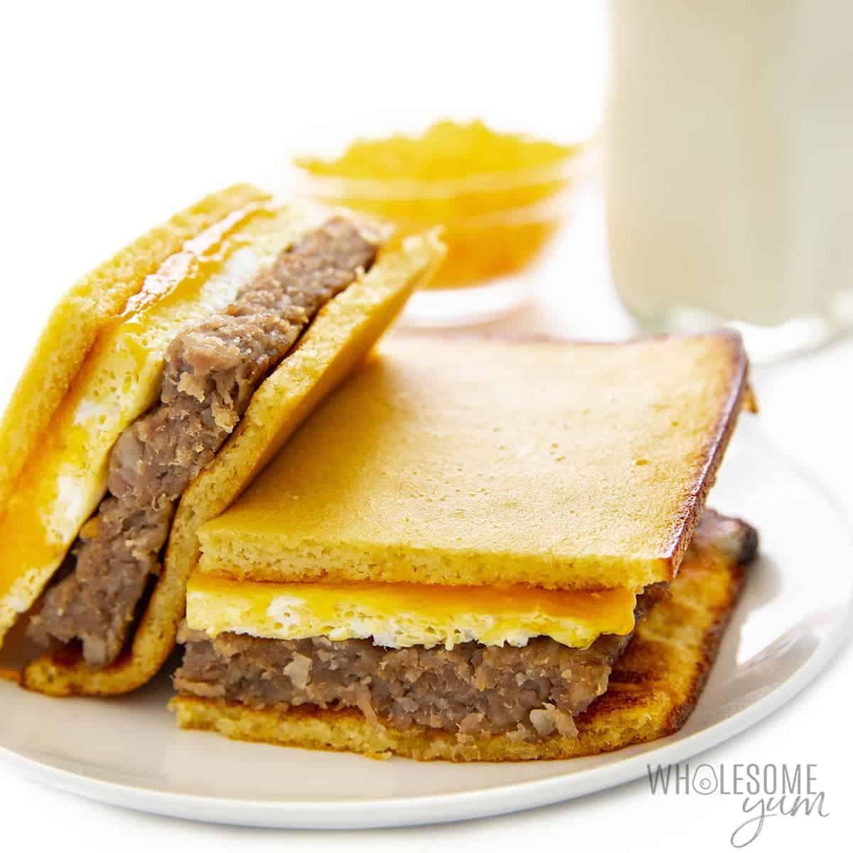 Keto breakfast sandwich on plate
