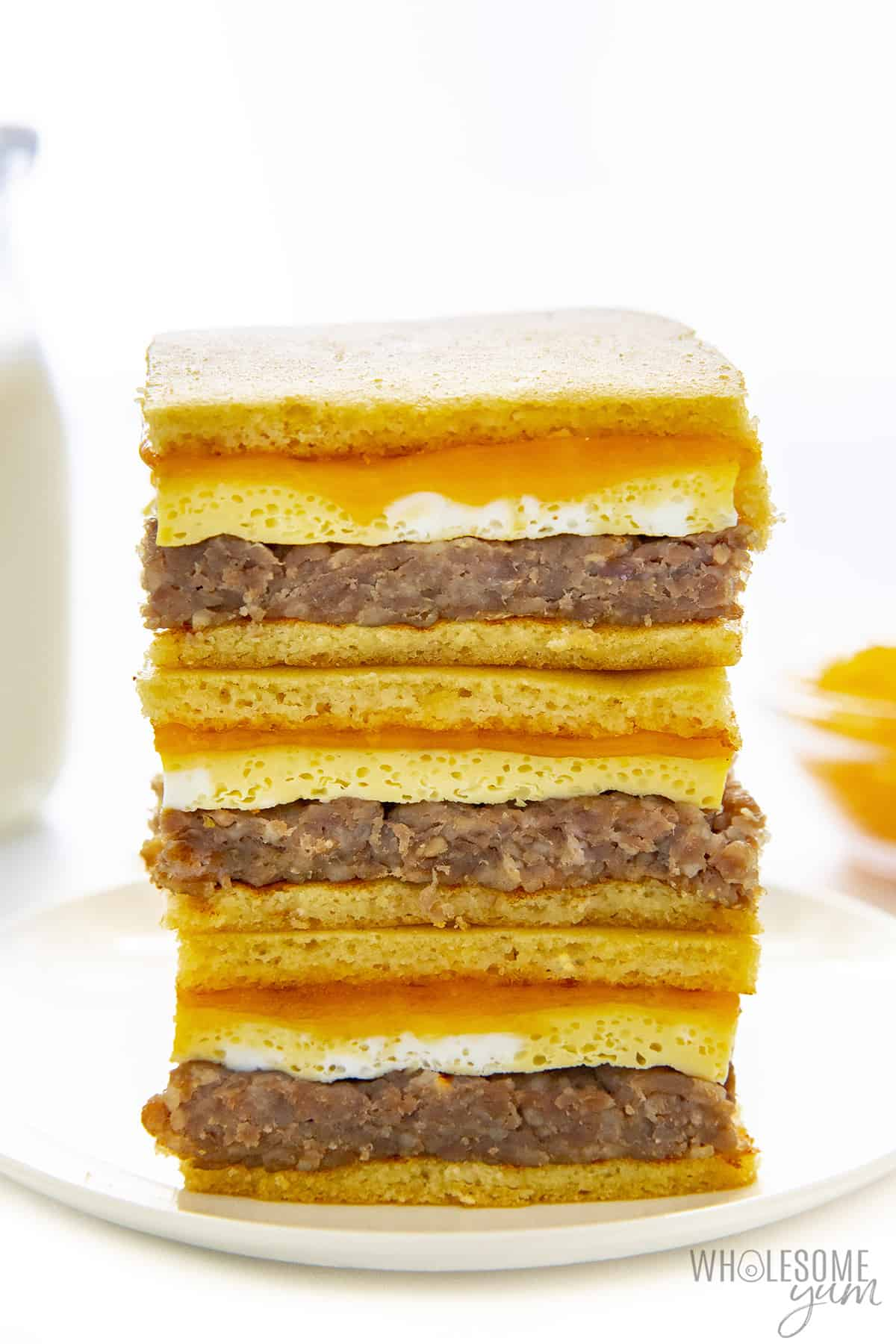Tall stack of keto breakfast sandwiches