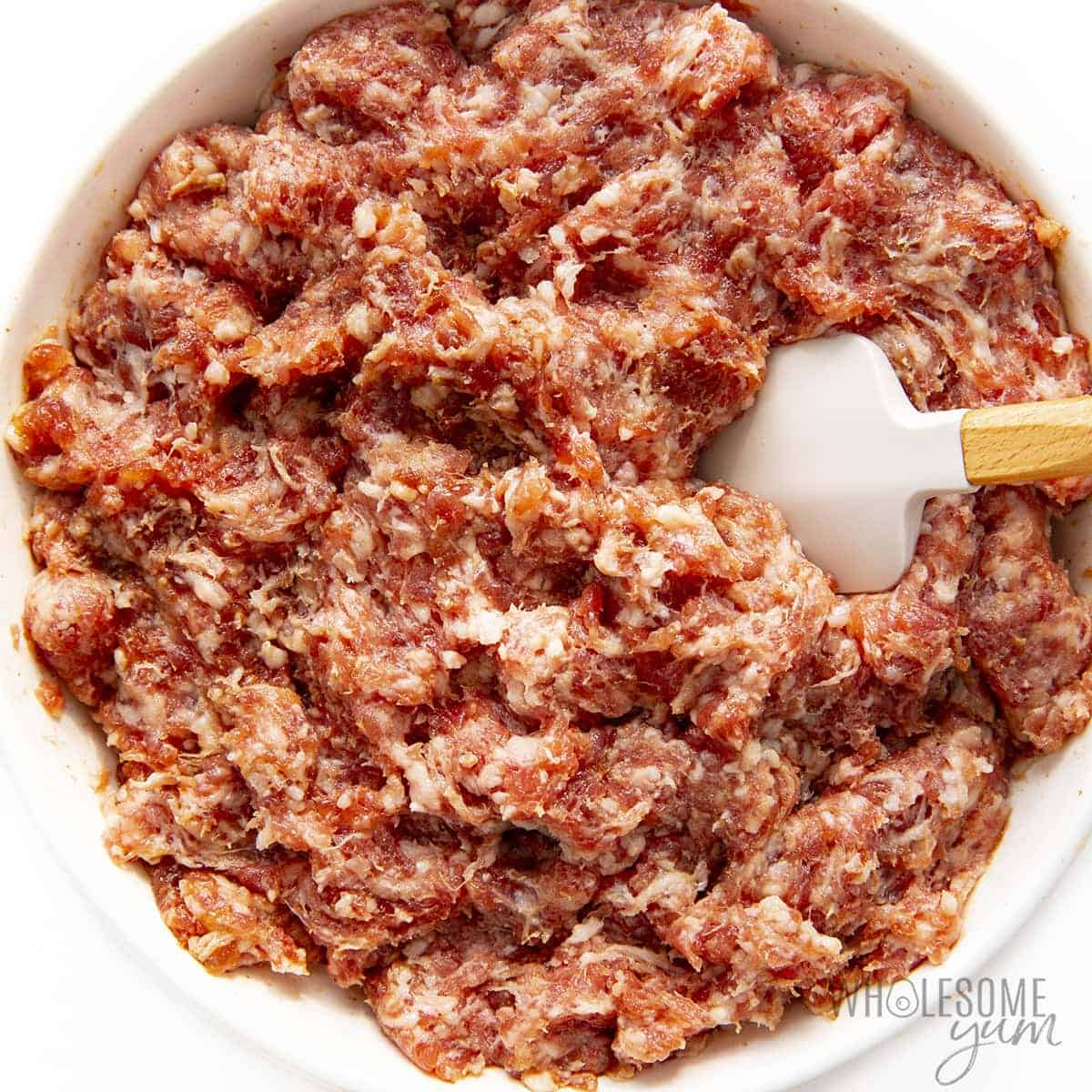 Breakfast sausage in glass bowl