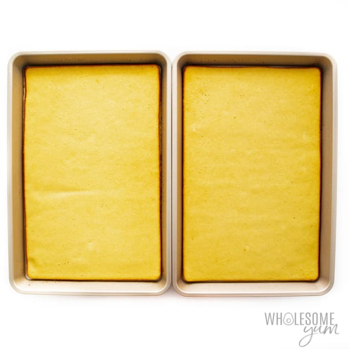 Baked pancake layer in jelly roll pans