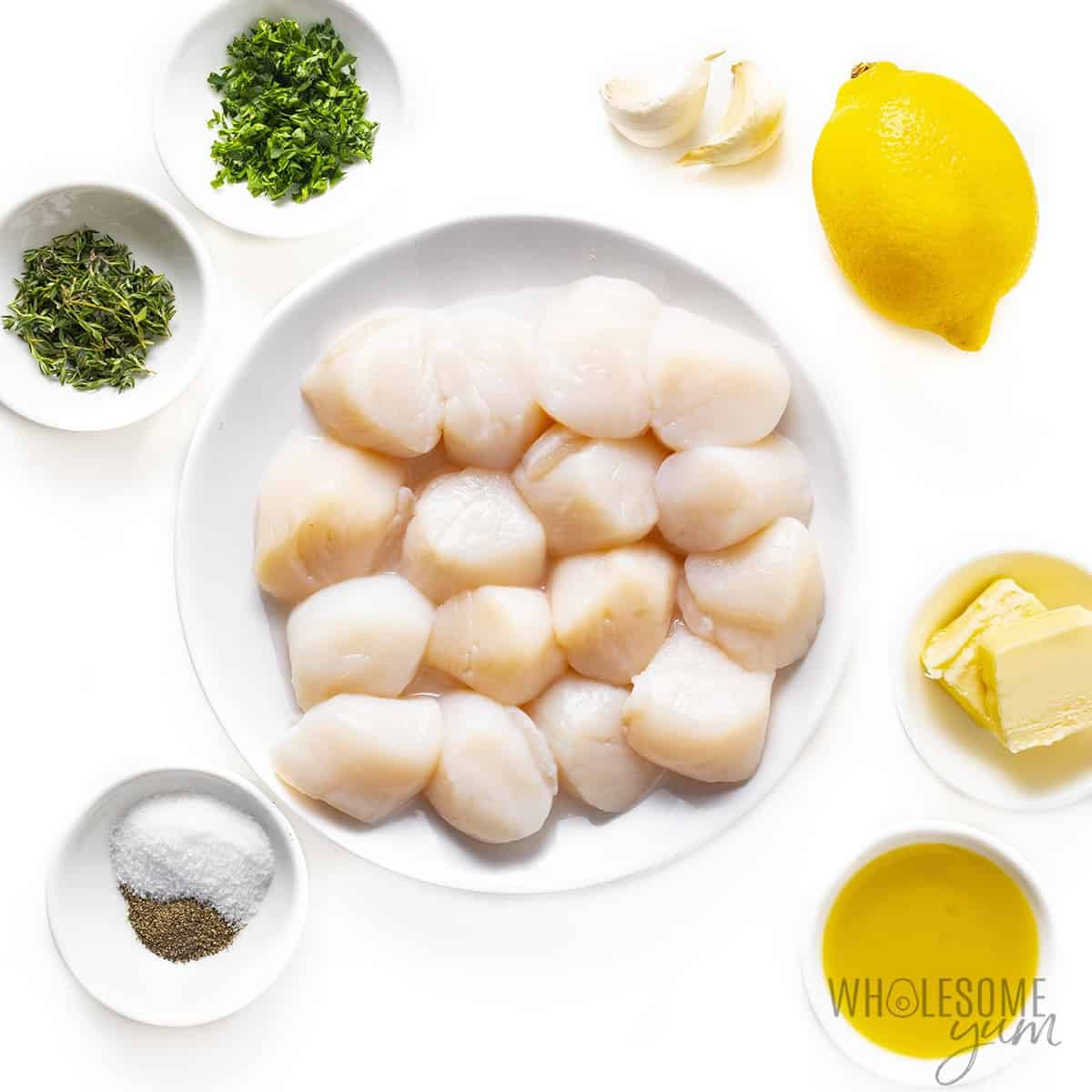 Ingredients to make seared scallops recipe