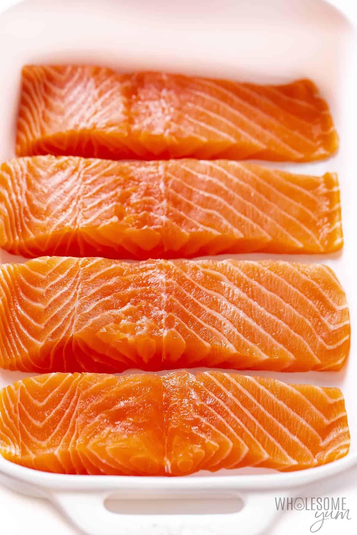 Is salmon keto? This raw fresh salmon is naturally keto friendly.