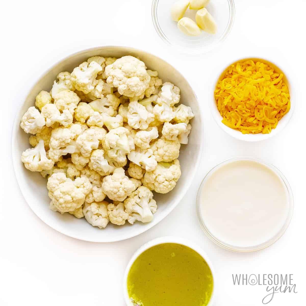 Ingredients to make cheesy cauliflower soup