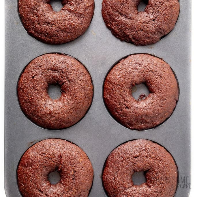 Fully baked donuts in donut pan