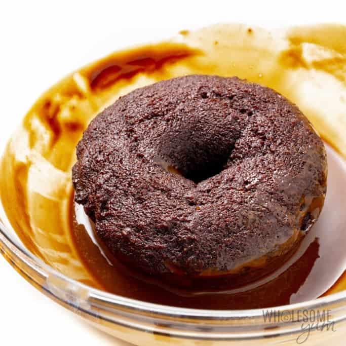 Glazed protein powder donut recipe in the glaze bowl