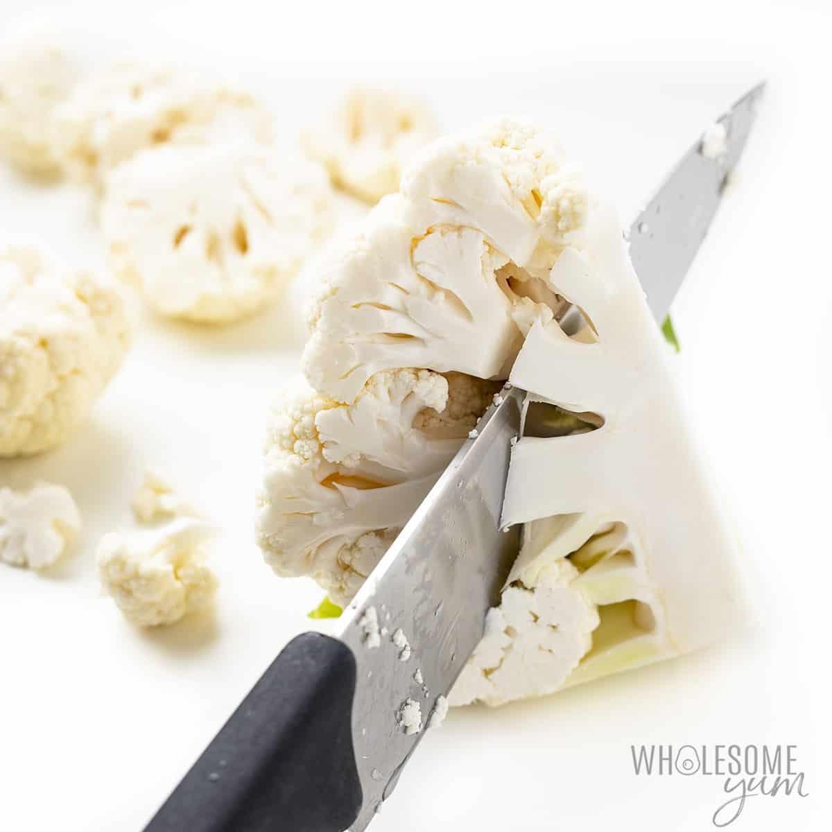 How to remove cauliflower stems