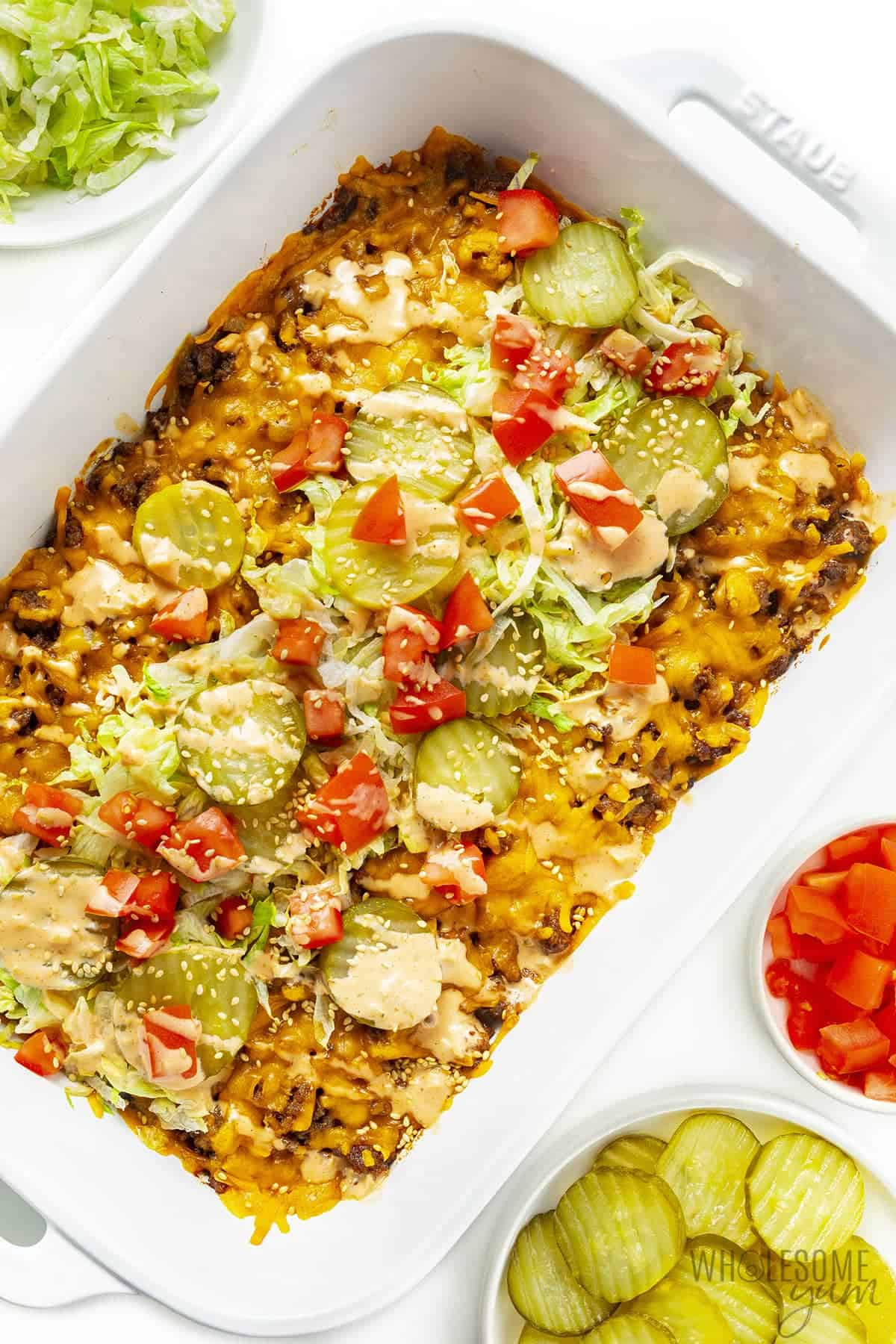 Big mac casserole with fresh toppings