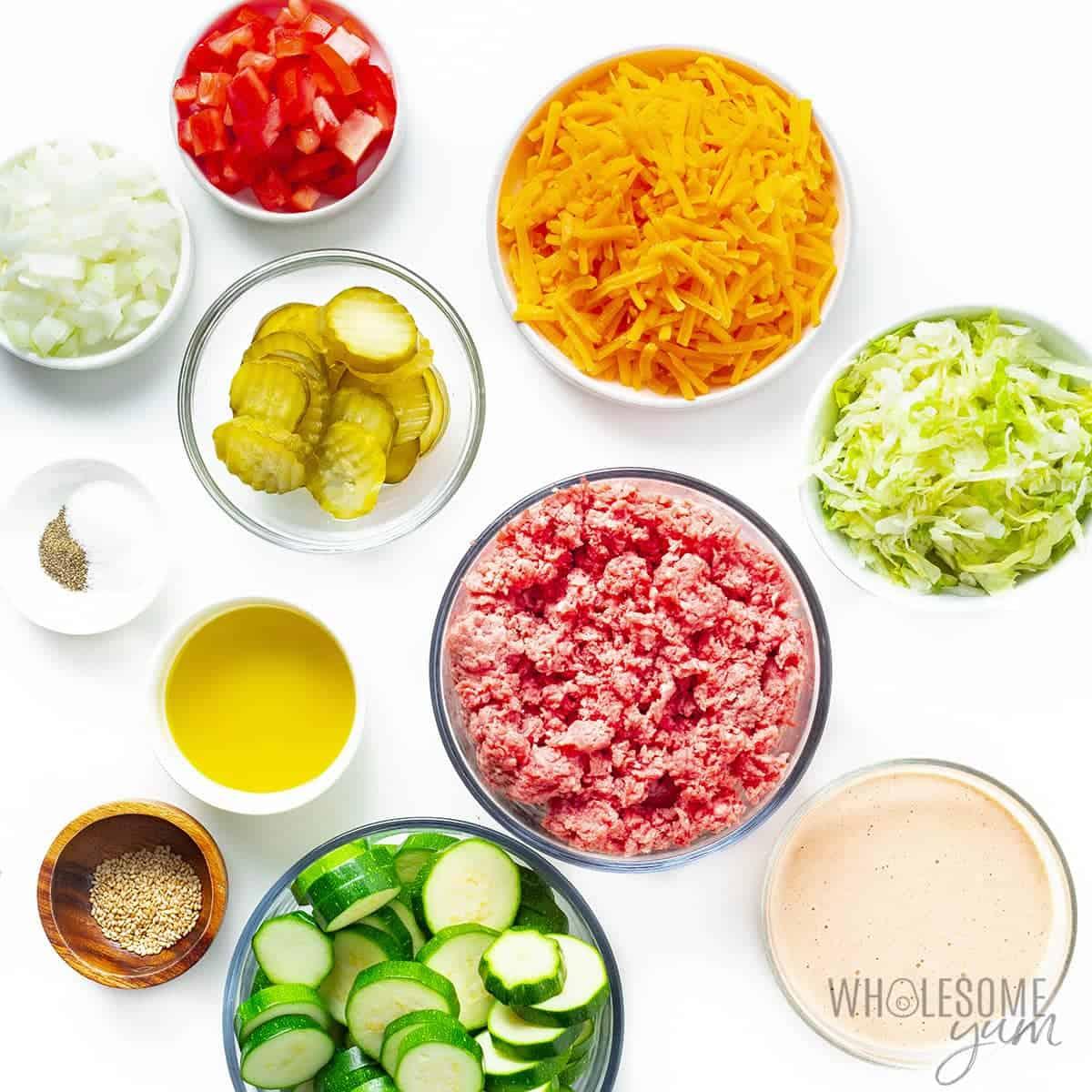 Ingredients to make keto big mac casserole recipe