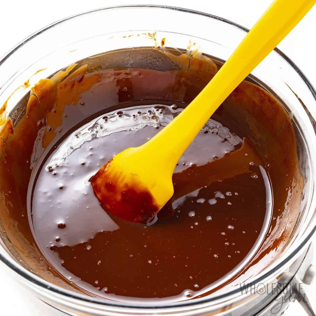 Butter and chocolate melted in a double boiler
