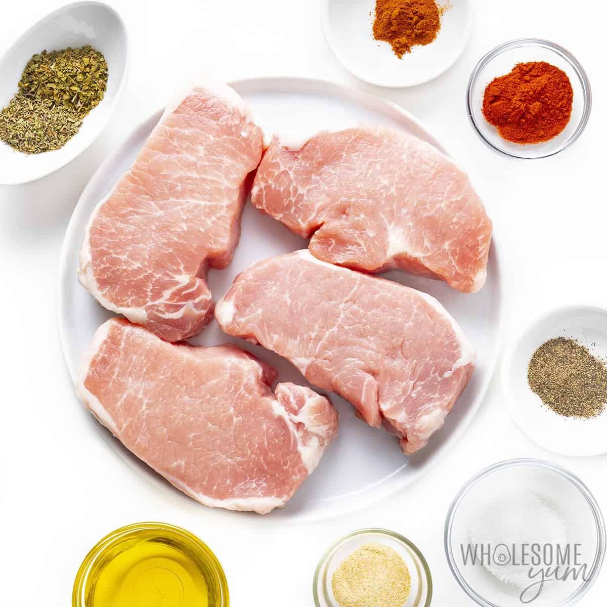 Ingredients to make pan fried pork chops